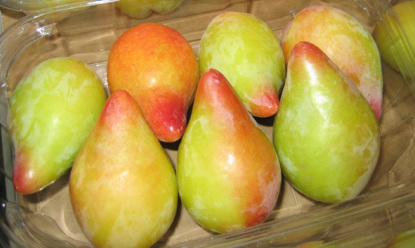 special shark teeth shape plums with different colors. Some fruits ...